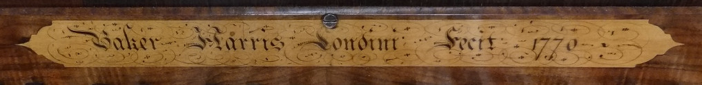 1770 Baker Harris spinet nameboard batten inscription 41K jpeg