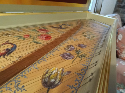 Harpsichord soundboard before additional backpinning 49K jpeg