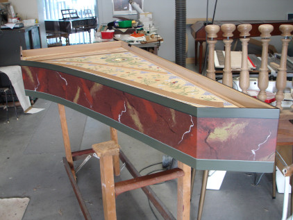 Royal Opera House, Muscat: Marbled harpsichord case 53K jpeg