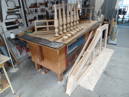 Scotch College harpsichord: Oak parts ready for finishing 52K jpeg